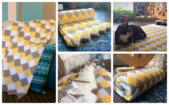 Entrelac Tunisian Crochet blanket